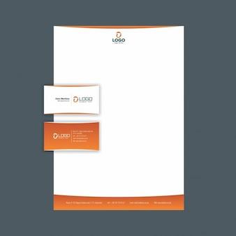Identidad corporativa creativa con detalles naranja