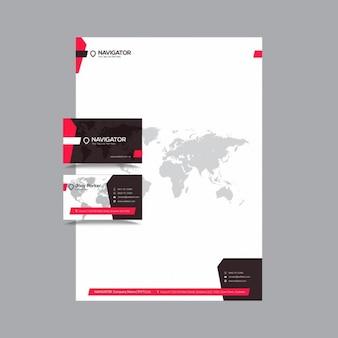 Identidad corporativa creativa con mapa
