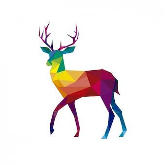 Illustratión poligonal de un ciervo