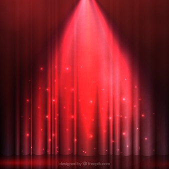 Iluminada cortina roja
