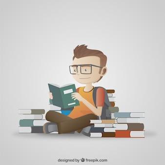 Ilustración de estudiante leyendo