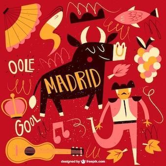 Ilustración divertida de Madrid