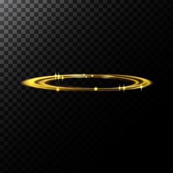 Ilustración abstracta de vectores de efectos de luz en forma de círculos dorados