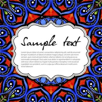 Ilustración azul de mandala con espacio para texto