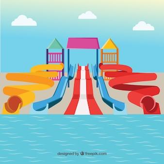 Ilustración colorido parque acuático