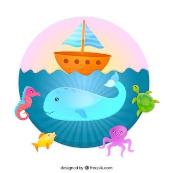 Ilustración con una ballena en el mar