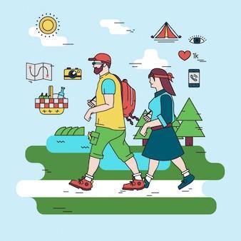 Ilustración de actividad de camping