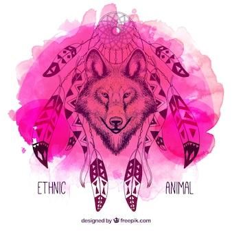Ilustración de acuarela de lobo con atrapasueños