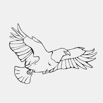 Ilustración de águila voladora