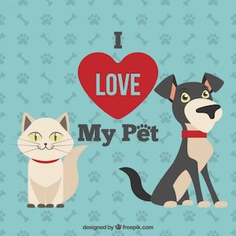 Ilustración de amo a mi mascota