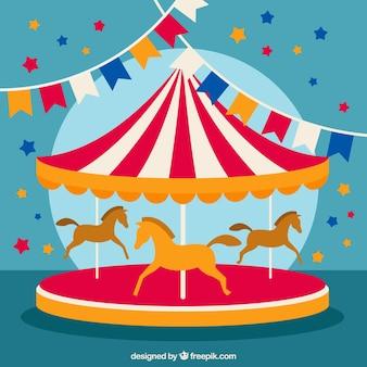 Ilustración de carrusel de circo