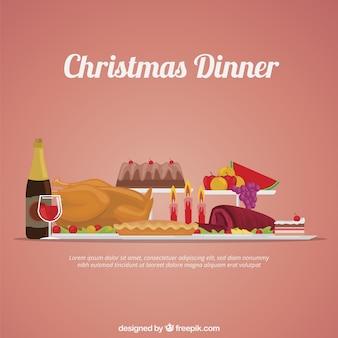 Ilustración de cena de navidad