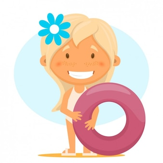Ilustración de chica con un flotador