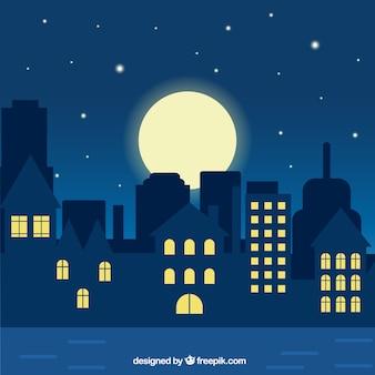 Ilustración de ciudad de noche