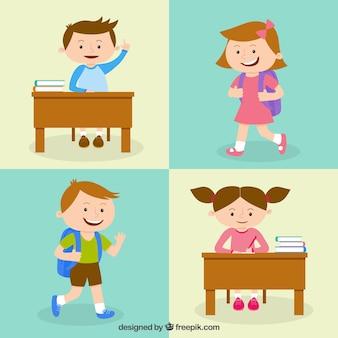 Ilustración de colegiales felices