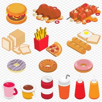 Ilustración de comida chatarra gráfica en gráfico isométrico 3d