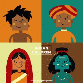 Ilustración de dibujos de niños indios