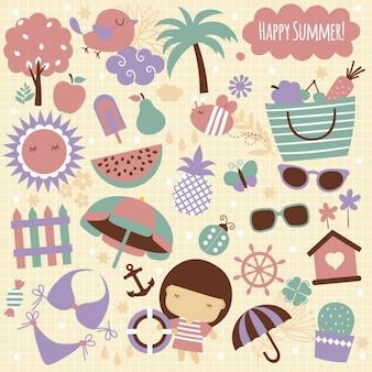 Ilustración de elementos de verano