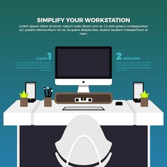 Ilustración de espacio de trabajo creativa
