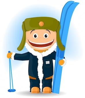 Ilustración de esquiador feliz
