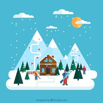 Ilustración de estación de esquí en diseño plano