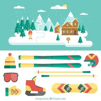 Ilustración de estación de esquí y equipamiento en diseño plano