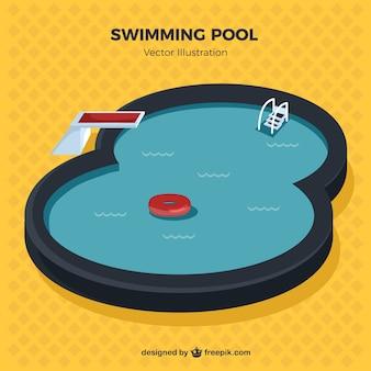Ilustración de estilosa piscina
