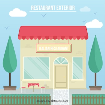 Ilustración de exterior de restaurante