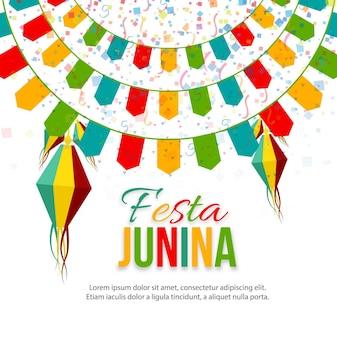 Ilustración de festa junina con guirnaldas redondas