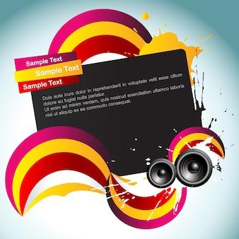 Ilustración de fondo colorido de música