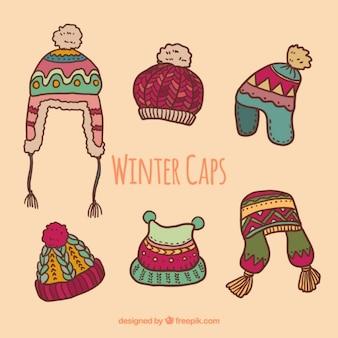 Ilustración de gorros de invierno
