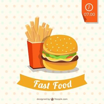 Ilustración de hamburguesa y patatas