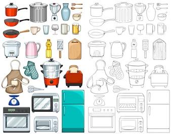 Ilustración de herramientas y equipos de cocina