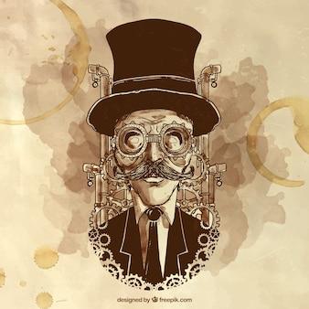 Ilustración de hombre steampunk pintado a mano