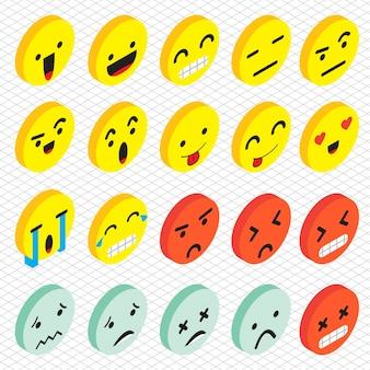 Ilustración de icono de iconos de emoticones en gráfico isométrico 3d