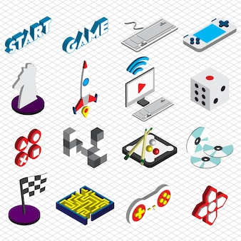 Ilustración de iconos de juego conjunto de concepto en gráfico isométrico