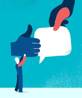 Ilustración de iconos de me gusta y comentarios