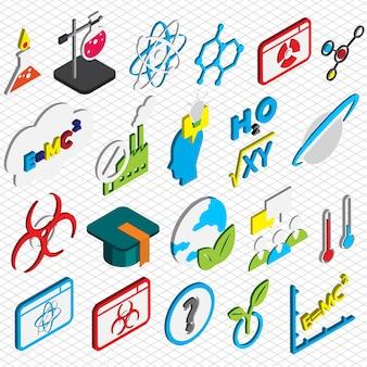 Ilustración de la ciencia iconos conjunto concepto en gráfico isométrico