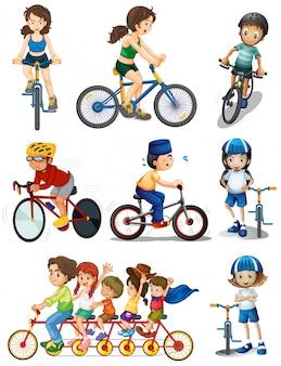 Ilustración de la gente ciclismo sobre un fondo blanco