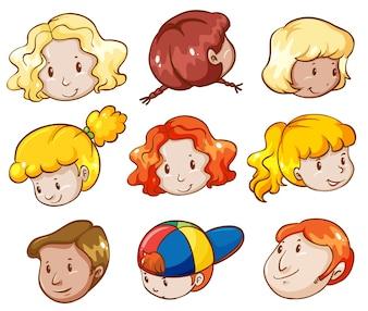 Ilustración de las cabezas de diferentes personas sobre un fondo blanco