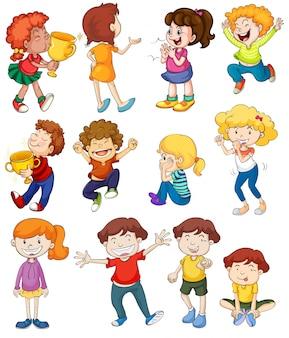 Ilustración de los niños en actitudes ganadoras y animadoras