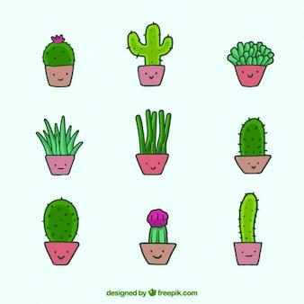 Ilustración de macetas de cactus sonriendo