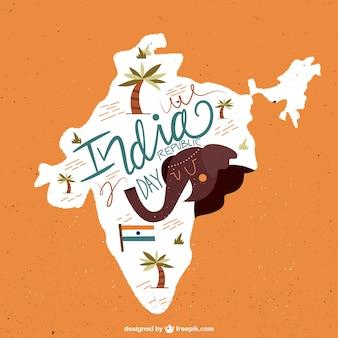 Ilustración de mapa del día de la república India