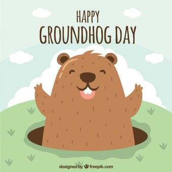 Ilustración de marmota feliz