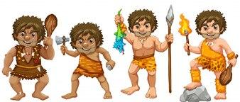 Ilustración de muchos hombres de las cavernas con armas