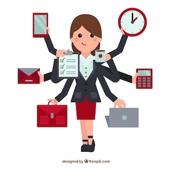Ilustración de mujer multitarea