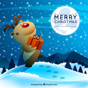 Ilustración de navidad de un ciervo