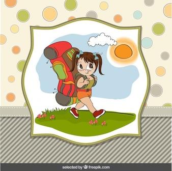 Ilustración de niña con una gran mochila