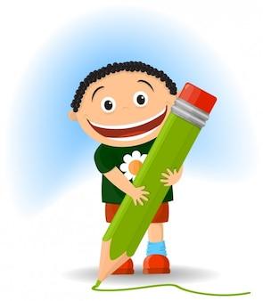 Ilustración de niño con un lápiz