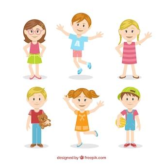 Ilustración de niños lindos en estilo colorido